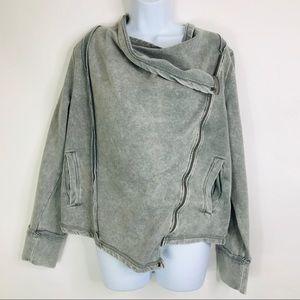 Calvin Klein Asymmetrical Moto Zip Acid Wash Coat